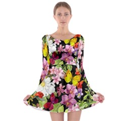Beautiful,floral,hand painted, flowers,black,background,modern,trendy,girly,retro Long Sleeve Skater Dress