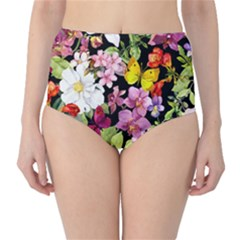 Beautiful,floral,hand painted, flowers,black,background,modern,trendy,girly,retro High-Waist Bikini Bottoms