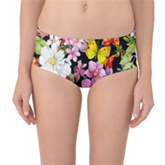 Beautiful,floral,hand painted, flowers,black,background,modern,trendy,girly,retro Mid-Waist Bikini Bottoms
