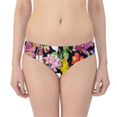 Beautiful,floral,hand painted, flowers,black,background,modern,trendy,girly,retro Hipster Bikini Bottoms