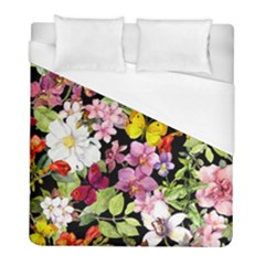 Beautiful,floral,hand painted, flowers,black,background,modern,trendy,girly,retro Duvet Cover (Full/ Double Size)