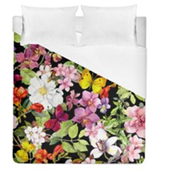 Beautiful,floral,hand painted, flowers,black,background,modern,trendy,girly,retro Duvet Cover (Queen Size)