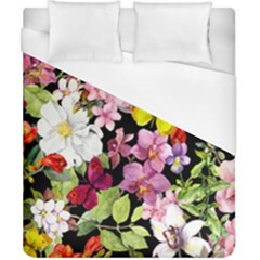 Beautiful,floral,hand painted, flowers,black,background,modern,trendy,girly,retro Duvet Cover (California King Size)
