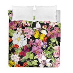 Beautiful,floral,hand painted, flowers,black,background,modern,trendy,girly,retro Duvet Cover Double Side (Full/ Double Size)