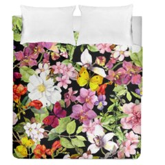 Beautiful,floral,hand painted, flowers,black,background,modern,trendy,girly,retro Duvet Cover Double Side (Queen Size)