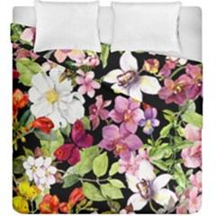 Beautiful,floral,hand painted, flowers,black,background,modern,trendy,girly,retro Duvet Cover Double Side (King Size)