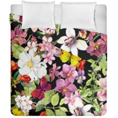 Beautiful,floral,hand painted, flowers,black,background,modern,trendy,girly,retro Duvet Cover Double Side (California King Size)