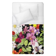 Beautiful,floral,hand painted, flowers,black,background,modern,trendy,girly,retro Duvet Cover (Single Size)