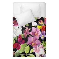 Beautiful,floral,hand painted, flowers,black,background,modern,trendy,girly,retro Duvet Cover Double Side (Single Size)