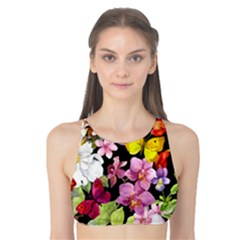 Beautiful,floral,hand painted, flowers,black,background,modern,trendy,girly,retro Tank Bikini Top