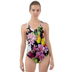 Beautiful,floral,hand painted, flowers,black,background,modern,trendy,girly,retro Cut-Out Back One Piece Swimsuit