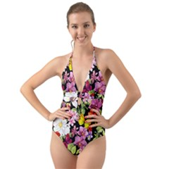 Beautiful,floral,hand painted, flowers,black,background,modern,trendy,girly,retro Halter Cut-Out One Piece Swimsuit