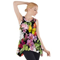 Beautiful,floral,hand painted, flowers,black,background,modern,trendy,girly,retro Side Drop Tank Tunic