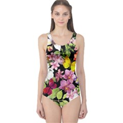 Beautiful,floral,hand painted, flowers,black,background,modern,trendy,girly,retro One Piece Swimsuit