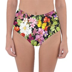 Beautiful,floral,hand painted, flowers,black,background,modern,trendy,girly,retro Reversible High-Waist Bikini Bottoms