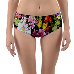 Beautiful,floral,hand painted, flowers,black,background,modern,trendy,girly,retro Reversible Mid-Waist Bikini Bottoms