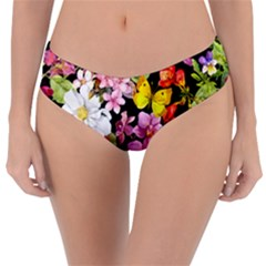 Beautiful,floral,hand painted, flowers,black,background,modern,trendy,girly,retro Reversible Classic Bikini Bottoms