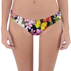 Beautiful,floral,hand painted, flowers,black,background,modern,trendy,girly,retro Reversible Hipster Bikini Bottoms