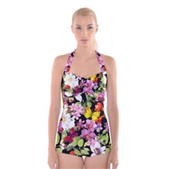 Beautiful,floral,hand painted, flowers,black,background,modern,trendy,girly,retro Boyleg Halter Swimsuit