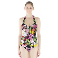 Beautiful,floral,hand painted, flowers,black,background,modern,trendy,girly,retro Halter Swimsuit