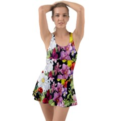 Beautiful,floral,hand painted, flowers,black,background,modern,trendy,girly,retro Swimsuit