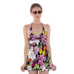 Beautiful,floral,hand painted, flowers,black,background,modern,trendy,girly,retro Halter Dress Swimsuit