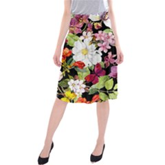 Beautiful,floral,hand painted, flowers,black,background,modern,trendy,girly,retro Midi Beach Skirt