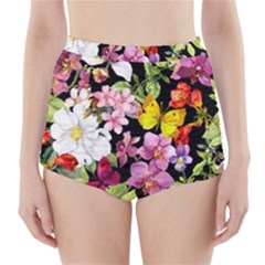 Beautiful,floral,hand painted, flowers,black,background,modern,trendy,girly,retro High-Waisted Bikini Bottoms