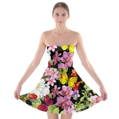 Beautiful,floral,hand painted, flowers,black,background,modern,trendy,girly,retro Strapless Bra Top Dress
