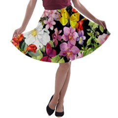 Beautiful,floral,hand painted, flowers,black,background,modern,trendy,girly,retro A-line Skater Skirt