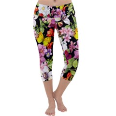 Beautiful,floral,hand painted, flowers,black,background,modern,trendy,girly,retro Capri Yoga Leggings