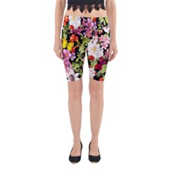 Beautiful,floral,hand painted, flowers,black,background,modern,trendy,girly,retro Yoga Cropped Leggings