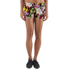 Beautiful,floral,hand painted, flowers,black,background,modern,trendy,girly,retro Yoga Shorts