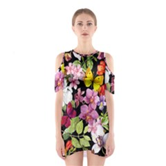 Beautiful,floral,hand painted, flowers,black,background,modern,trendy,girly,retro Shoulder Cutout One Piece