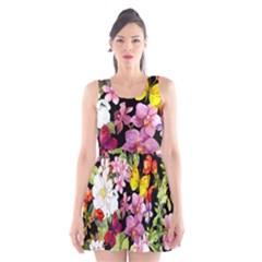 Beautiful,floral,hand Painted, Flowers,black,background,modern,trendy,girly,retro Scoop Neck Skater Dress by 8fugoso