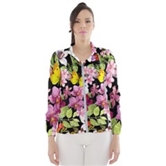 Beautiful,floral,hand painted, flowers,black,background,modern,trendy,girly,retro Wind Breaker (Women)