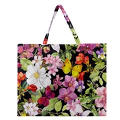 Beautiful,floral,hand painted, flowers,black,background,modern,trendy,girly,retro Zipper Large Tote Bag