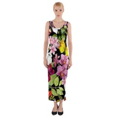Beautiful,floral,hand painted, flowers,black,background,modern,trendy,girly,retro Fitted Maxi Dress