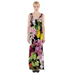 Beautiful,floral,hand painted, flowers,black,background,modern,trendy,girly,retro Maxi Thigh Split Dress