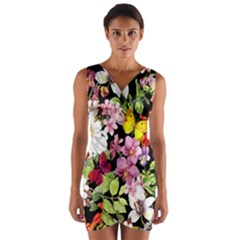 Beautiful,floral,hand painted, flowers,black,background,modern,trendy,girly,retro Wrap Front Bodycon Dress