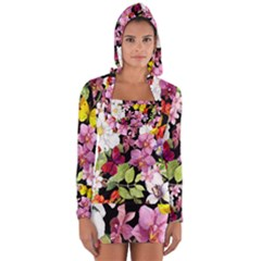 Beautiful,floral,hand painted, flowers,black,background,modern,trendy,girly,retro Long Sleeve Hooded T-shirt