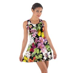 Beautiful,floral,hand painted, flowers,black,background,modern,trendy,girly,retro Cotton Racerback Dress