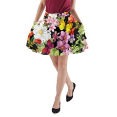 Beautiful,floral,hand painted, flowers,black,background,modern,trendy,girly,retro A-Line Pocket Skirt