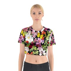 Beautiful,floral,hand painted, flowers,black,background,modern,trendy,girly,retro Cotton Crop Top