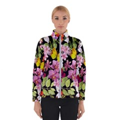 Beautiful,floral,hand painted, flowers,black,background,modern,trendy,girly,retro Winterwear
