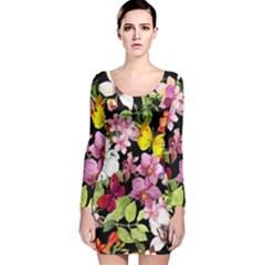 Beautiful,floral,hand painted, flowers,black,background,modern,trendy,girly,retro Long Sleeve Velvet Bodycon Dress