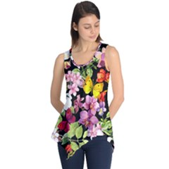 Beautiful,floral,hand painted, flowers,black,background,modern,trendy,girly,retro Sleeveless Tunic