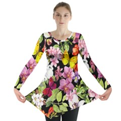 Beautiful,floral,hand painted, flowers,black,background,modern,trendy,girly,retro Long Sleeve Tunic
