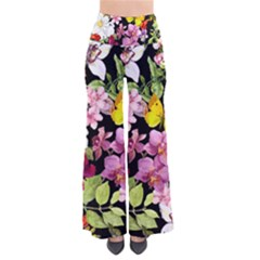 Beautiful,floral,hand painted, flowers,black,background,modern,trendy,girly,retro Pants
