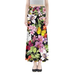 Beautiful,floral,hand painted, flowers,black,background,modern,trendy,girly,retro Full Length Maxi Skirt